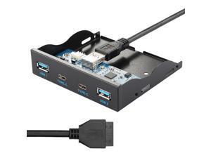 axGear 3.5 Inch USB-C USB 3.0 HUB 4 Ports Front Panel Floppy Bay Internal 20Pin Bracket