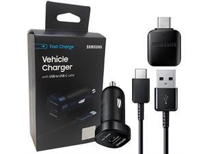 official samsung adaptive fast c type car charger + otg c adapter  for s8/s9/+/note8/note9 us retail packing kit