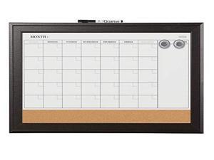 Quartet Combination Magnetic Whiteboard Calendar & Corkboard 23x17 Black