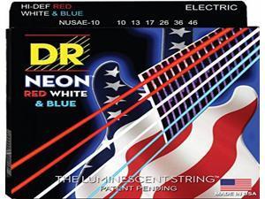DR Strings K3 Neon Hi-Def Red White & Blue Electric Guitar Strings 10-46