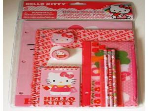 Hello Kitty Think Pink 11 piece Stationary Pack (Portfolio X2 Themed Notebook, Memo Pad, Pencil Pouch, Pencils, Sharpener, Ruler, Eraser)
