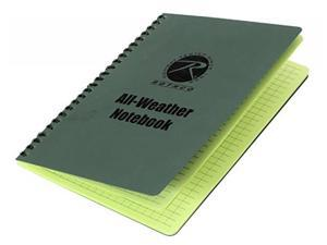 """Rothco All Weather Waterproof Notebook, 6"""" x 8"""", Green"""