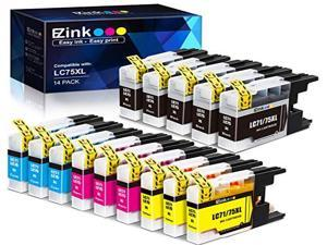 E-Z Ink ™ Compatible Ink Cartridge Replacement For Brother LC75 LC-75 LC-75XL High Yield (14) Pack (5 Black, 3 Cyan, 3 Magenta, 3 Yellow) LC75BK LC75C LC75M LC75Y