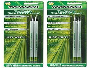 Ticonderoga 99992 SenseMatic Pencil, 0.7 mm Lead Diameter, Silver/Black Barrel (2-Pack)