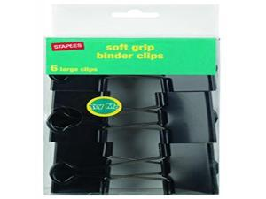 "Staples Large Soft Grip Binder Clips Black 2"" Size with 1"" Capacity 657188"