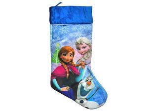 """Frozen Merry Christmas Stocking Blue Satin with White Fur 18"""""""
