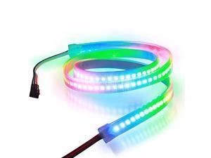Aclorol WS2812B 144 Pixels RGB LED Strip Individually Addressable 5V, 3.3ft WS2812B WS2812 1M 144 LEDs Programmable Dream Color Strip Lighting Weatherproof Black PCB