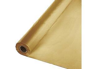 "Metallic Gold 40"" X 300 Ft Economy Banquet Roll Plastic Table Cloth"