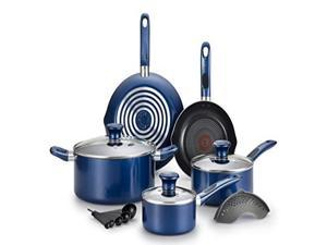 T-fal B037SE64 Excite ProGlide Nonstick Thermo-Spot Heat Indicator Dishwasher Oven Safe Cookware Set, 14-Piece, Blue