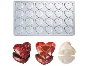 Martellato Polycarbonate Chocolate Mold, Heart Gem Diamond 33mm x 33mm x 15mm High, 24 Cavities