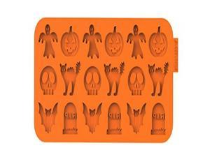 """SiliconeZone Chocochips Collection 8.9"""" Non-Stick Silicone Halloween Chocolate Wafer Mold, Orange"""