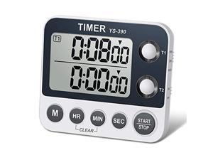 HomeMall Digital Dual Kitchen Timer, Cooking Timer, Dual Count Up & Down Timer with Magnetic Back, Large Display, Adjustable Volume and Flashing Alarm Light, ON/OFF Switch Stopwatch, Battery