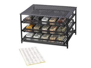 NEX 3-Tier Spice Rack 30 Bottle Standing Spice Drawer Storage Organizer for Kitchen Cabinet Countertop Dark Brown
