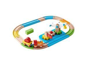All Wood Crane & Gears Railway Train SET Brightly Colored with 13 Hardwood Tracks, 2 Cars, Crossing Gate, Cargo Pieces, Lift. Early Development Educational Toy for Toddlers, Pre-School