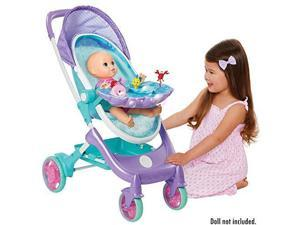 "my disney nursery musical bubble baby doll stroller inspired by the little mermaid, 4in1 feature doll stroller, forup to 14"" baby dolls, blows bubbles & plays under the sea for girls ages 3+"