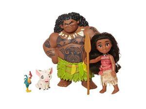 Moana Disney Doll with Maui Demigod Doll Figure, 4 Piece Little Petite Story Telling Gift Set for Girls Ages 3 and Up