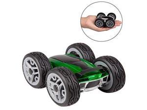 Remote Control RC Car For Kids and Adults - Dual Double Sided Toy Stunt Race Car Spins, Flips and Rotates - Green/Silver - Ages 6+ - Dyno RC Insane Car, Psycho