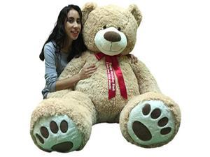 Big Plush Giant Teddy Bear 5 Feet Tall - Custom Personalized Your Name or Message Imprinted on Bear's Neck Ribbon Bow - Tan Color with Bigfoot Paws Giant Stuffed Animal Bear