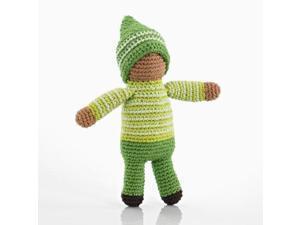 Pebble | Handmade Pixie Rattle - Fern- Green | Crochet | Fair Trade | Pretend | Imaginative Play | Montessori | Machine Washable