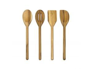 "Lipper International 726 Teak Wood Kitchen Tools for Cooking, 4-Piece Set, 11"" Long"