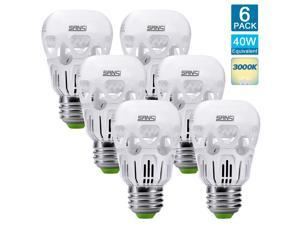 SANSI 5W (40 Watts Equivalent) LED Light Bulbs, A15, 450lm, 3000K Warm White, E26 Base, Non-Dimmable, Beam Angle 180 Degree (6-Pack)
