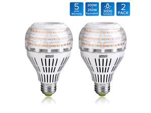 SANSI 22W (250-200W Equivalent) LED Light Bulbs, A21, Omni-directional, Ceramic Body, 3000 lumens, 3000K Warm white, CRI 80+, E26 Medium Screw Base, General Lighting, Pack of 2