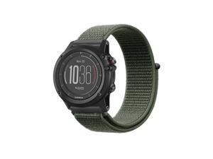 Band for Garmin Fenix 5X Plus/Fenix 3 HR Watch, Nylon Sport Loop Replacement Strap Bands with Adjustable Closure Green