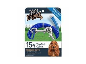 Pet Expert PE223852 Dog Tie Out, Lightweight Steel Aircraft Cable, Blue 15-Ft. - Quantity 1
