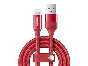 ESR USB to Lightning Durable 3.3ft Fast Charging Braided Cable Red For iPhone iPad Devices