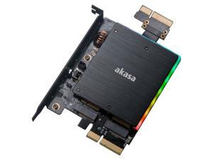 Akasa Dual M.2 PCIe SSD Adapter with Addressable RGB LED Light