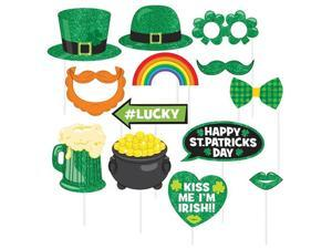 St. Patrick's Day Photo Booth 13 piece Prop Kit Luck of Irish Accessories Amscan 399465