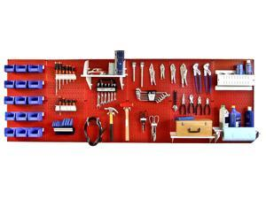 Wall Control 8ft Metal Pegboard Master Workbench Kit - Red Toolboard & White Accessories