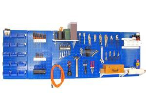 Wall Control 8ft Metal Pegboard Master Workbench Kit - Blue Toolboard & White Accessories