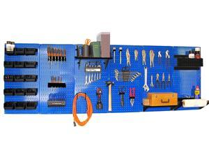 Wall Control 8ft Metal Pegboard Master Workbench Kit - Blue Toolboard & Black Accessories