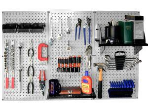 Wall Control 4ft Metal Pegboard Standard Tool Storage Kit - Gray Toolboard & Black Accessories