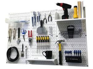 Wall Control 4ft Metal Pegboard Standard Tool Storage Kit - White Toolboard & White Accessories