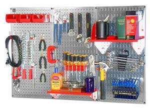 Wall Control 4ft Metal Pegboard Standard Tool Storage Kit - Galvanized Metallic Toolboard & Red Accessories
