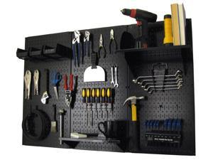 Wall Control 4ft Metal Pegboard Standard Tool Storage Kit - Black Toolboard & Black Accessories