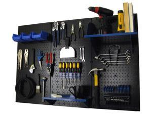 Wall Control 4ft Metal Pegboard Standard Tool Storage Kit - Black Toolboard & Blue Accessories