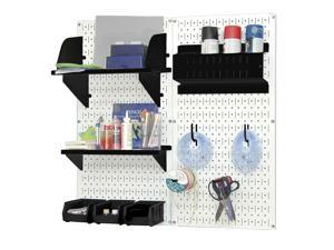 Wall Control Pegboard Hobby Craft Pegboard Organizer Storage Kit with White Pegboard and Black Accessories
