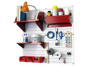 Wall Control Pegboard Hobby Craft Pegboard Organizer Storage Kit with White Pegboard and Red Accessories