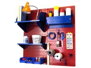 Wall Control Pegboard Hobby Craft Pegboard Organizer Storage Kit with Red Pegboard and Blue Accessories