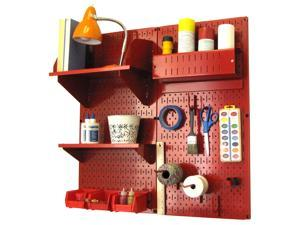 Wall Control Pegboard Hobby Craft Pegboard Organizer Storage Kit with Red Pegboard and Red Accessories