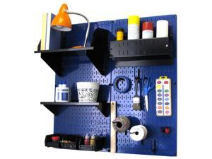 Wall Control Pegboard Hobby Craft Pegboard Organizer Storage Kit with Blue Pegboard and Black Accessories