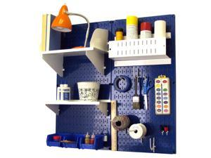 Wall Control Pegboard Hobby Craft Pegboard Organizer Storage Kit with Blue Pegboard and White Accessories