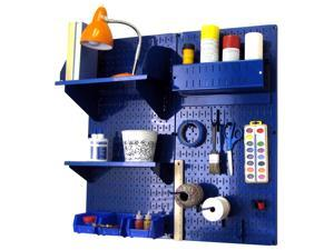 Wall Control Pegboard Hobby Craft Pegboard Organizer Storage Kit with Blue Pegboard and Blue Accessories