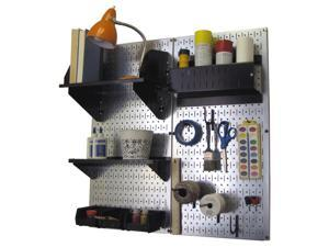 Wall Control Pegboard Hobby Craft Pegboard Organizer Storage Kit with Metallic Galvanized Steel Pegboard and Black Accessories