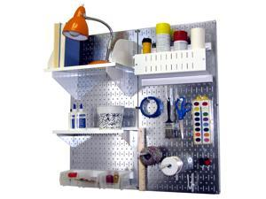 Wall Control Pegboard Hobby Craft Pegboard Organizer Storage Kit with Metallic Galvanized Steel Pegboard and White Accessories