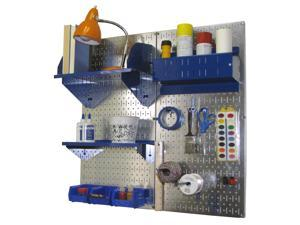 Wall Control Pegboard Hobby Craft Pegboard Organizer Storage Kit with Metallic Galvanized Steel Pegboard and Blue Accessories