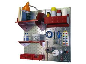 Wall Control Pegboard Hobby Craft Pegboard Organizer Storage Kit with Metallic Galvanized Steel Pegboard and Red Accessories